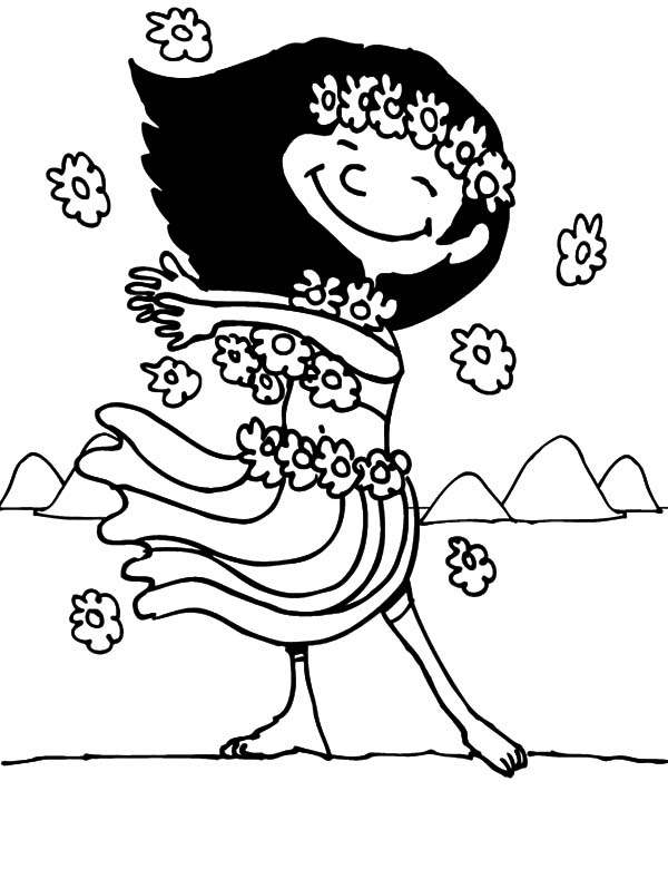 Hawaii, : Cute Girl form Hawaii Coloring Pages