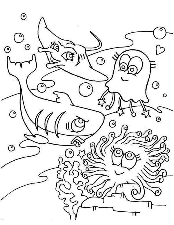 Manta Ray, : Cute Jellyfish Shark and Manta Ray Coloring Pages