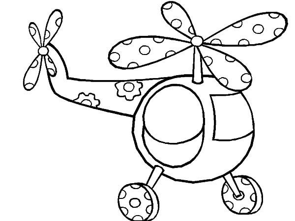 Helicopter, : Cute Little Helicopter Coloring Pages