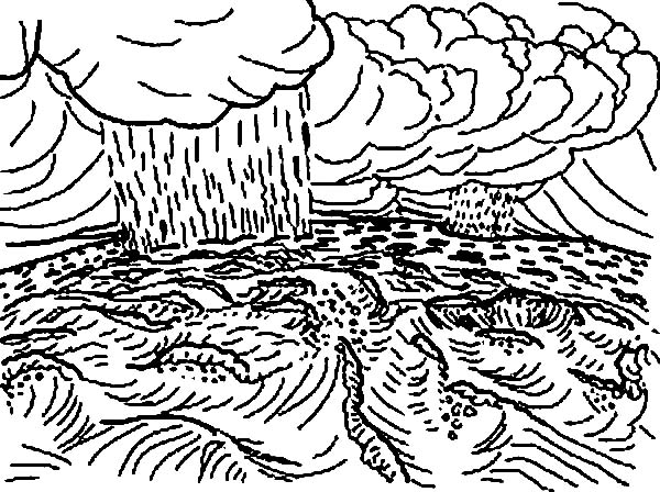 Days Creation, : Days of Creation Rain and Cloud Coloring Pages