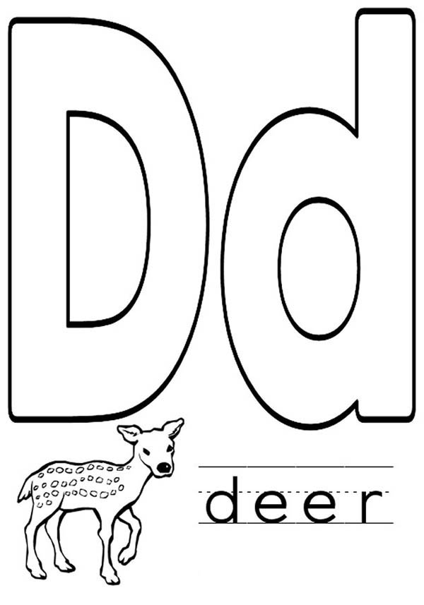 Letter D, : Deer for Learning Letter D Coloring Page