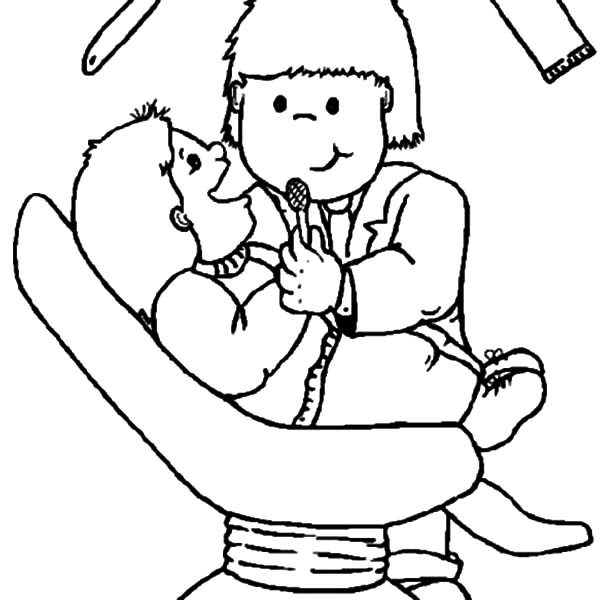 Health, : Dentist Check Meticulously Coloring Pages