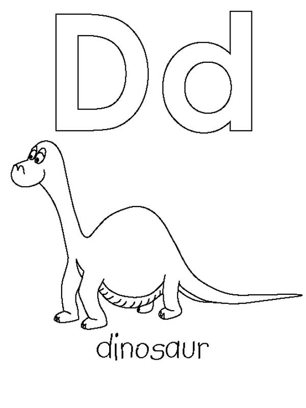 Letter D, : Dinosaurus for Learning Letter D Coloring Page
