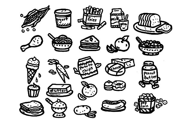 Healthy Eating, : Drawing Healthy Eating Coloring Pages