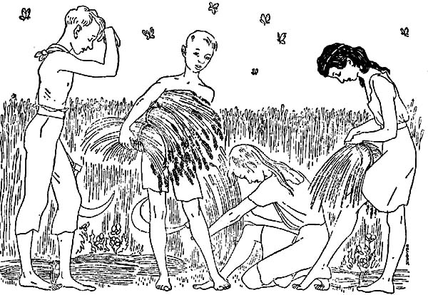 Harvests, : Drawing People Crop Harvests Coloring Pages