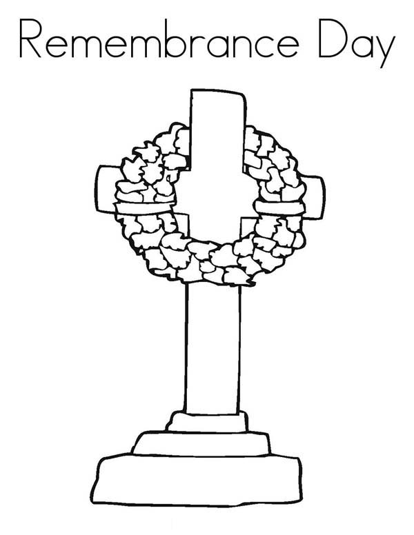 Remembrance Day, : Drawing Tombstone Remembrance Day Coloring Pages
