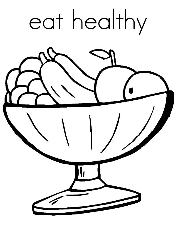 Healthy Eating, : Eat Healthy Fruits Coloring Pages