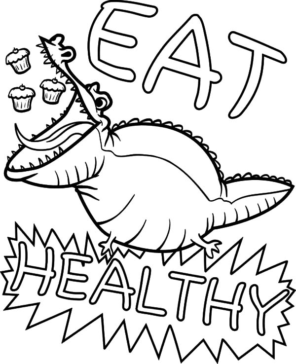 Healthy Eating, : Eating Healthy Alligator Coloring Pages