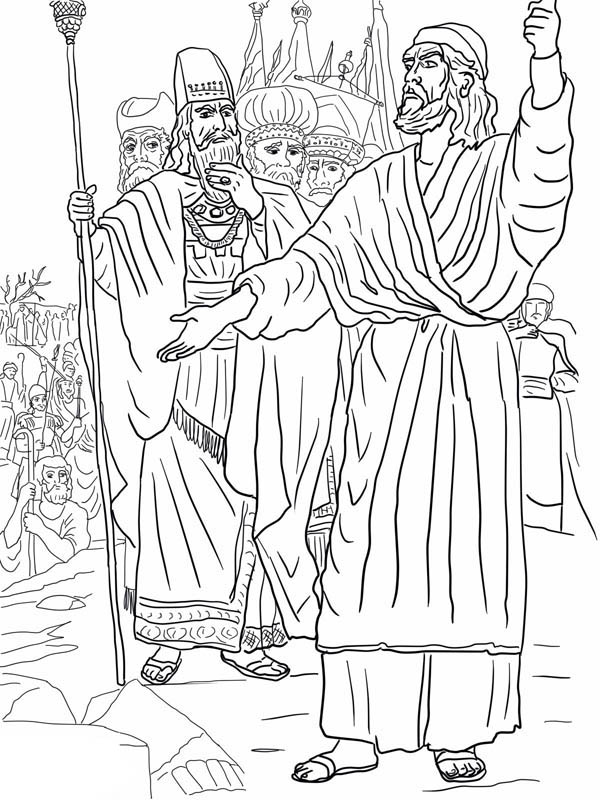 Elijah, : Elijah Ahab and Prophets of Baal on Mount Carmel Coloring Pages