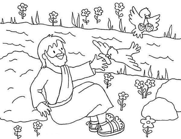 Birds Feed Elijah Coloring Pages