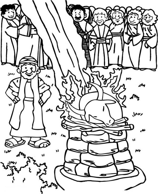 Elijah, : Elijah and the Prophets of Baal Coloring Pages