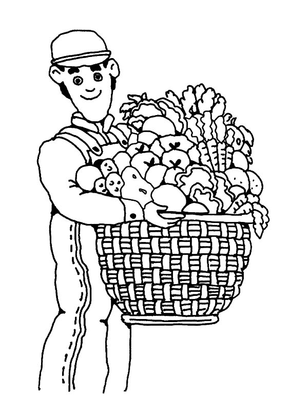Harvests, : Farmer and a Basket of Fruit Harvests Coloring Pages