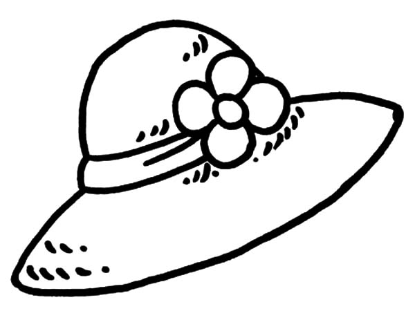 Hat, : Flowered Girl Hat Coloring Pages