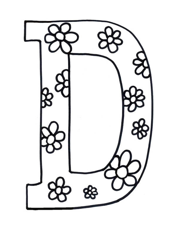 Letter D, : Flowered Letter D Coloring Page