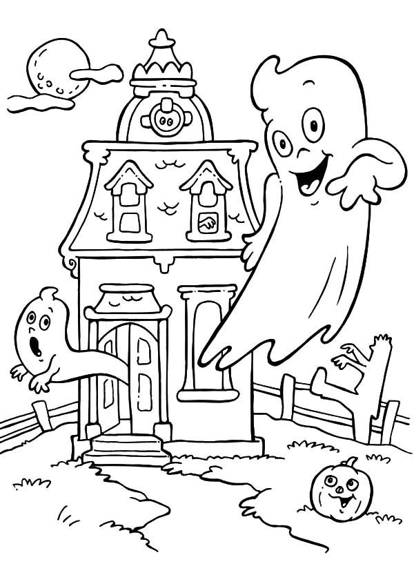 Haunted House, : Flying Ghost of Haunted House Coloring Pages