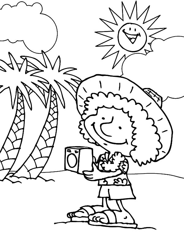 Hawaii, : Foreign Tourist in Hawaii Coloring Pages