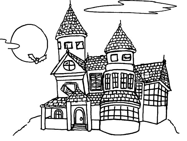 Haunted House, : Full Moon on Haunted House Coloring Pages