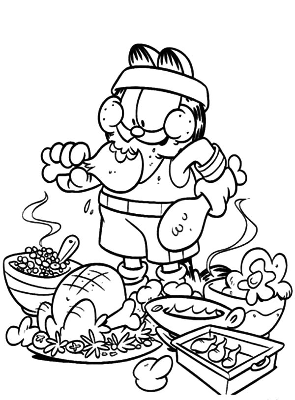 Healthy Eating, : Garfield Eating Junk Food Not Healthy Coloring Pages