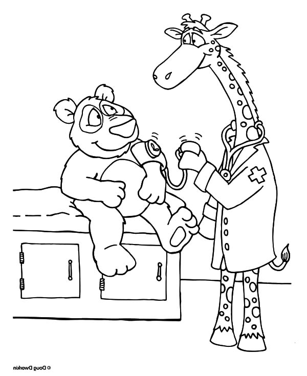 Health, : Giraffe Checking Bear Blood Pressure for its Health Coloring Pages