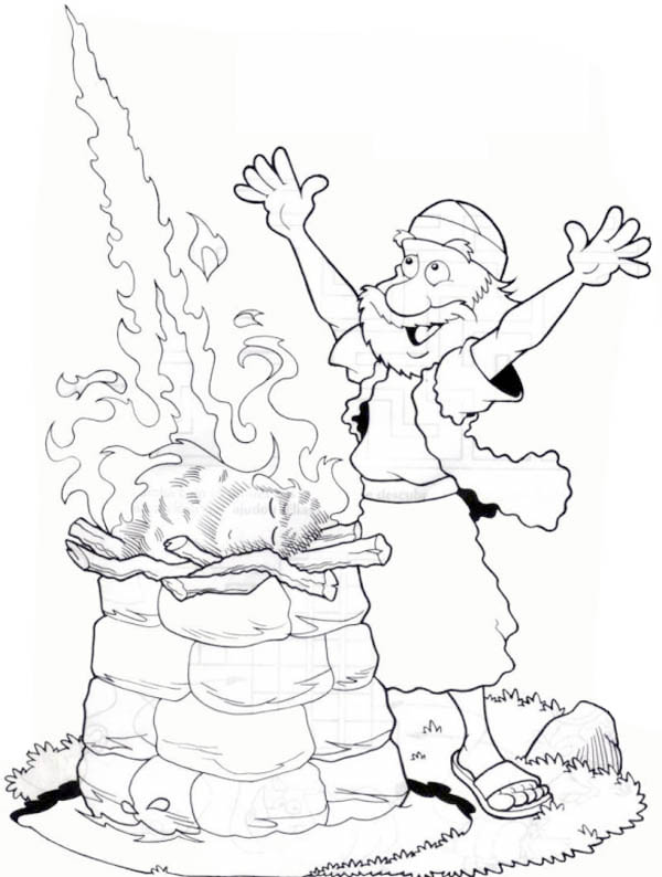 Elijah, : God Give Elijah Fire Coloring Pages