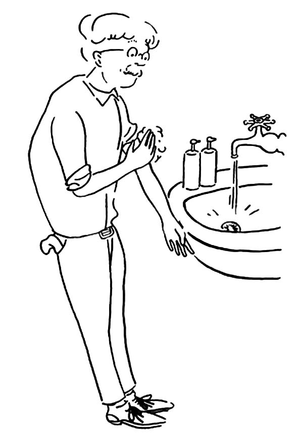 Hand Washing, : Granny Want to Washing Her Hand Coloring Pages