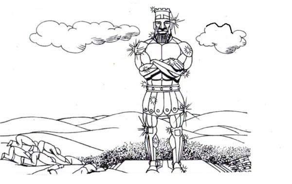 King Nebuchadnezzar, : Great King Nebachudnezzar's Statue Coloring Pages