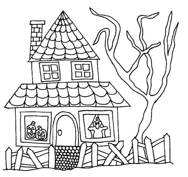 Haunted House, : Halloween Haunted House Coloring Pages
