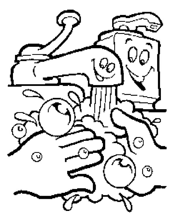 Hand Washing, : Hand Washing Cartoon Coloring Pages