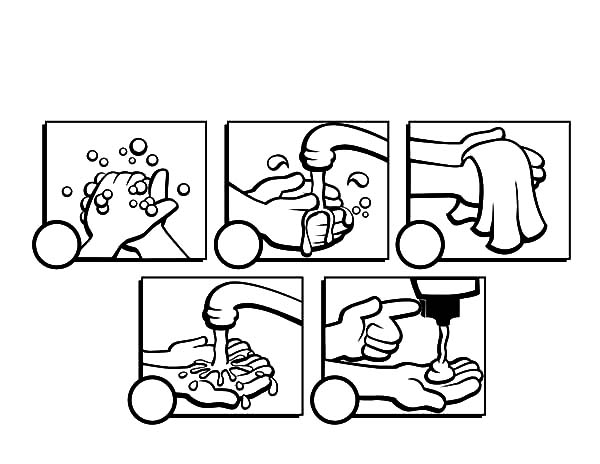 Hand Washing, : Hand Washing Guidance Coloring Pages