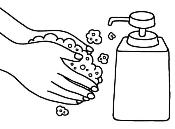 Hand Washing, : Hand Washing Liquid Soap Coloring Pages
