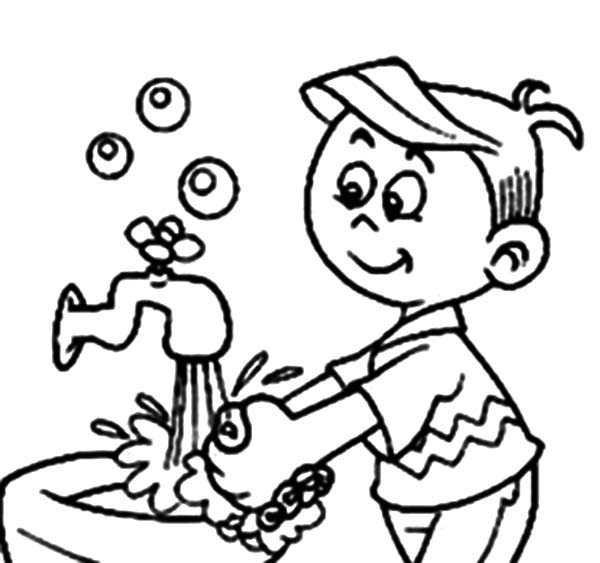 Hand Washing, : Hand Washing is for Personal Hygiene Coloring Pages