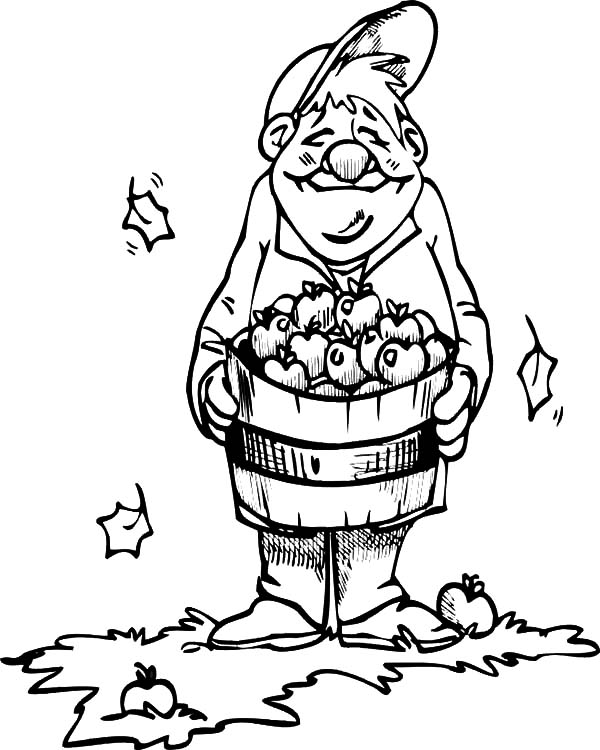 Harvests, : Happy Farmer Apple Harvests Coloring Pages