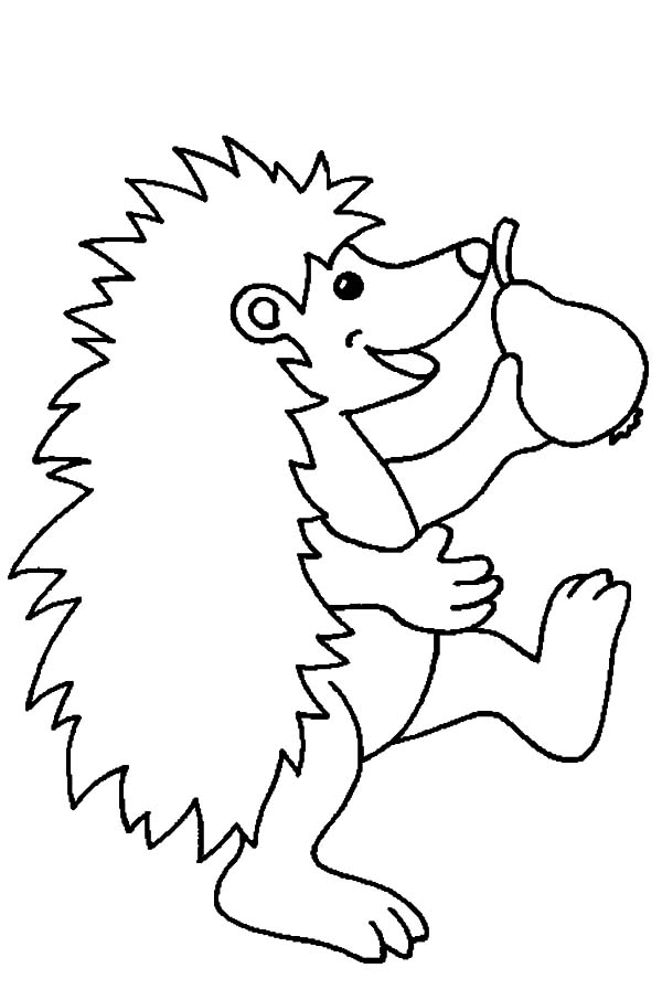Hedgehog, : Happy Hedgehog Holding a Pear Coloring Pages