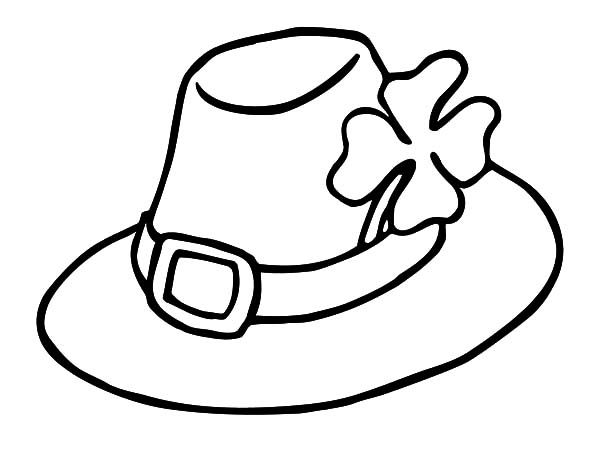 Hat, : Hat Decorated with Clover Coloring Pages