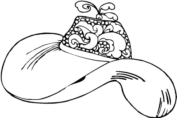 Hat, : Hat with Curly Feather Coloring Pages
