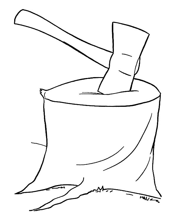 hatchet, : Hatchet for Cutting Tree Coloring Pages