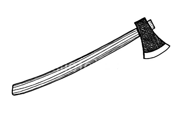 hatchet, : Hatchet with Wooden Handle Coloring Pages