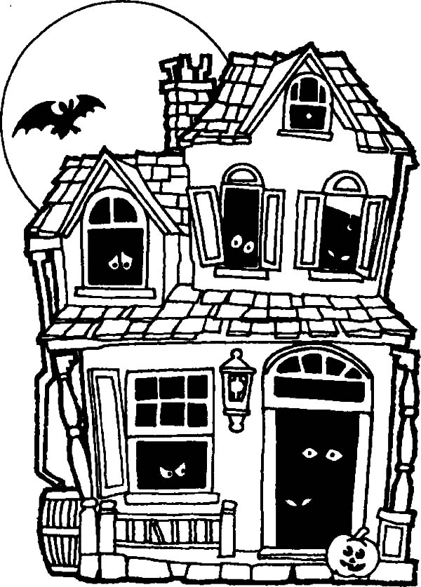 Haunted House, : Haunted House Full of Mistery Eyes Coloring Pages