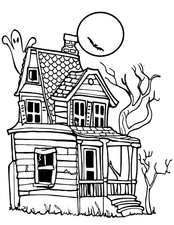 Haunted House, : Haunted House Under Full Moon Night Coloring Pages