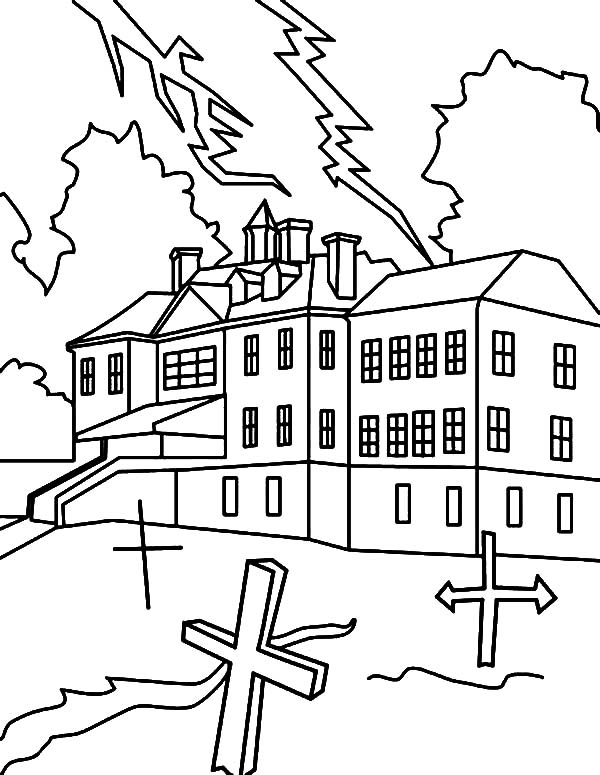 Haunted House, : Haunted House with Cemetery Coloring Pages