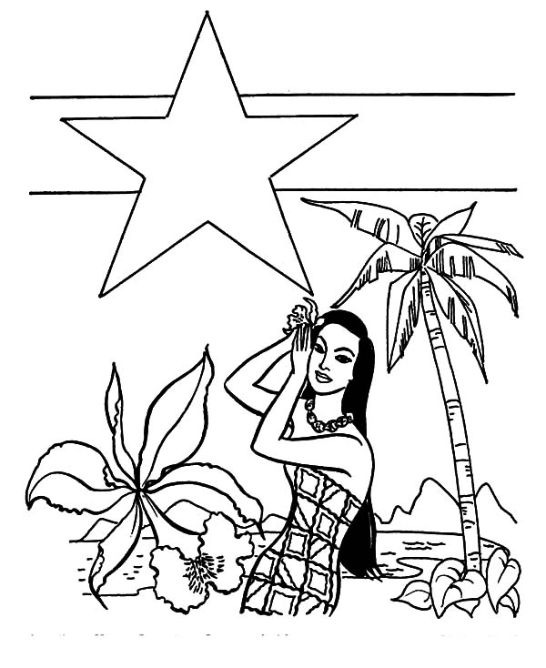Hawaii, : Hawaii Becomes State Coloring Pages