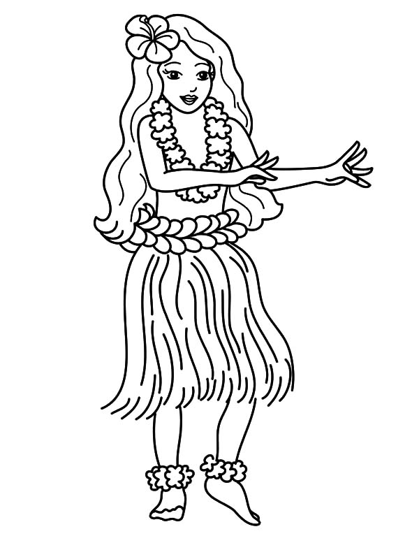 Hawaii, : Hawaii Traditional Dance at Luau Party Coloring Pages