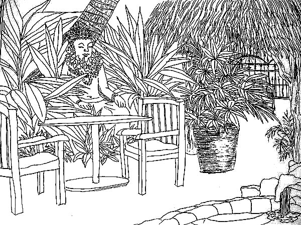 Hawaii, : Hawaii Traditional House Coloring Pages