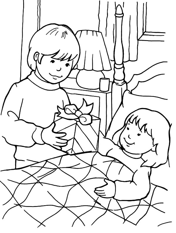 Health, : Health People Visiting Sick People Coloring Pages