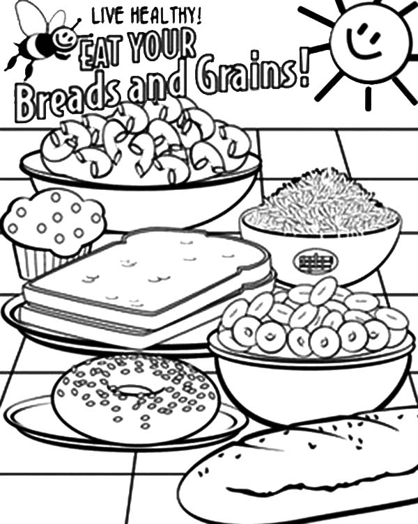 Healthy Eating, : Healthy Eating Breads and Grains Coloring Pages