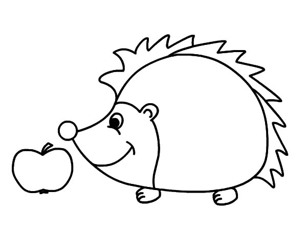 Hedgehog, : Hedgehog Found Big Apple Coloring Pages