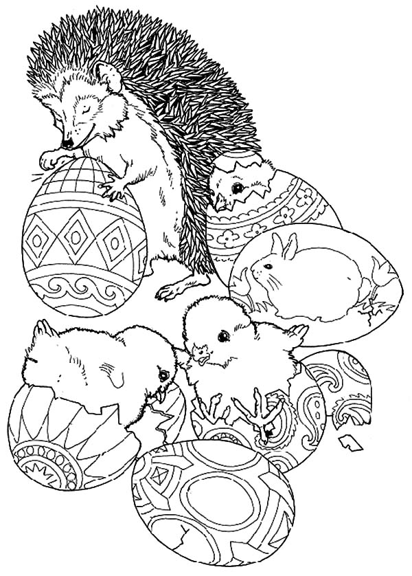 Hedgehog, : Hedgehog and Other Animals Decorating Easter Eggs Coloring Pages
