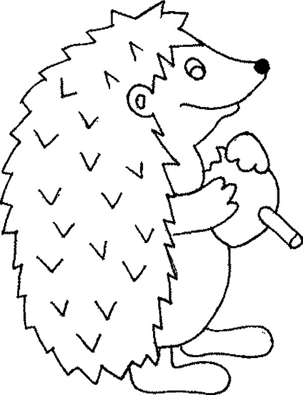 Hedgehog, : Hedgehog is Eating Coloring Pages