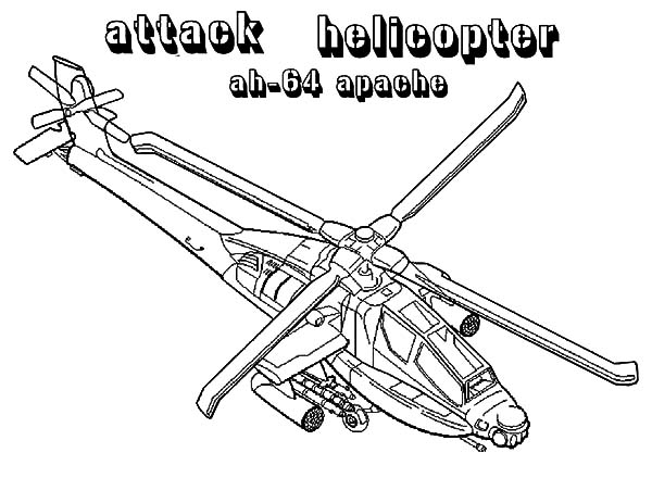 Helicopter, : Helicopter Apache AH 64 Coloring Pages