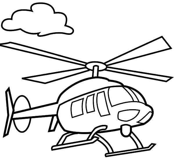 Helicopter, : Helicopter Floating in the Air Coloring Pages